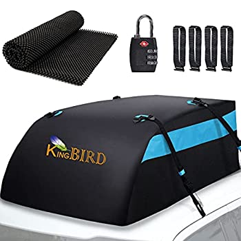 KING BIRD Aerodynamic Rooftop Cargo Carrier Bag 20 Cubic Feet 100% Waterproof Car Top Carrier with Non-Slip Mat + 4 Door Hooks+Luggage Lock Fit All Vehicles with/Without Roof Rack