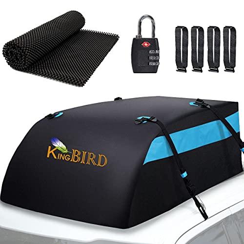 KING BIRD Aerodynamic Rooftop Cargo Carrier Bag, 20 Cubic Feet 100% Waterproof Car Top Carrier with...