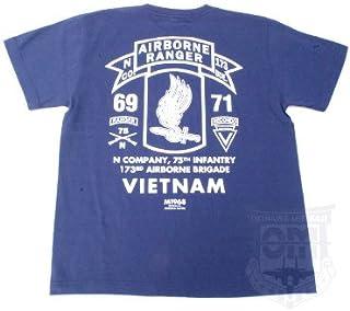 第75歩兵連隊(レンジャー)N中隊/第173空挺旅団所属/ベトナム戦争 ミリタリーTシャツ TP-370 (M, NAVY)
