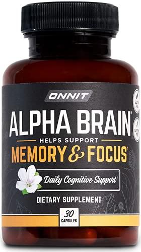 ONNIT Alpha Brain (30ct) - Over 1 Million Bottles Sold - Premium Nootropic Brain Supplement - Focus, Concentration & Memory - Alpha GPC, L Theanine & Bacopa Monnieri