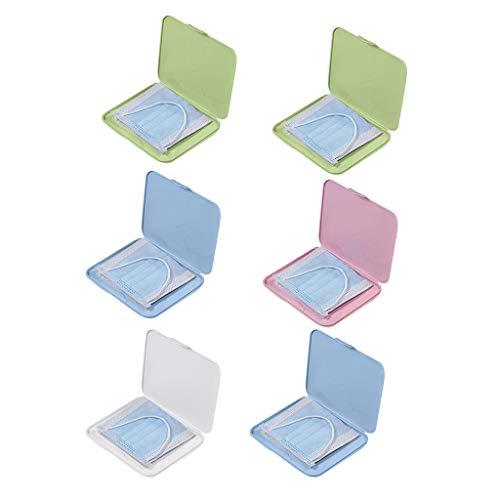 JSxhisxnuid [6 Stück] Tragbare Mundschutz Aufbewahrungstasche Maskenbox Kunststoff staubdicht Wiederverwendbar Aufbewahrungsbox, Mund und Nasenschutz Zubehör
