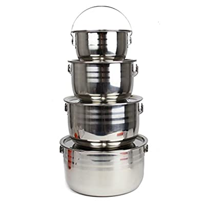 Wealers Stainless Steel Outdoor Pots/Cookware, Select-A-Size, Pot Set is Great for Camping, Hunting, Hiking, Backpacking, BBQ or a Picnic (Full Set Included)