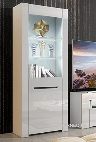 Furneo High Gloss & Matt White Display Cabinet Cupboard Milano09 White LED Lights