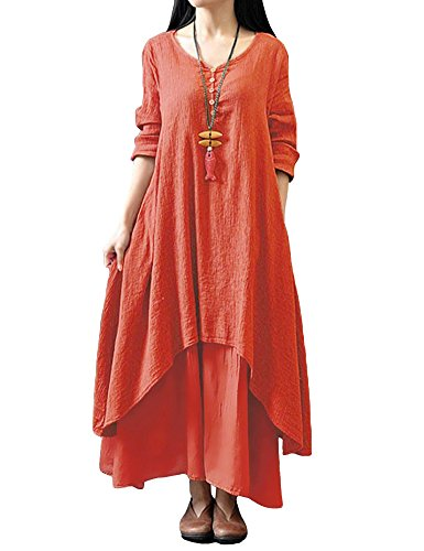 Romacci Damen Beiläufige Lose Kleid Fest Langarm Boho Lang Maxi Kleid S-5XL Schwarz/Weiß/Rot/Gelb, Orange, 5XL