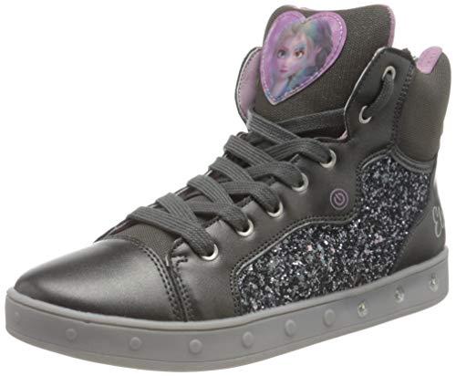 Geox J Skylin Girl A Sneaker, Grau (Dk Grey/Lilac), 28 EU