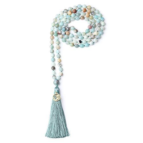 COAI Collana Rosario Buddista con 108 Perle Mala in Amazzonite con Nappa Azzurra e Amuleto Om 8mm