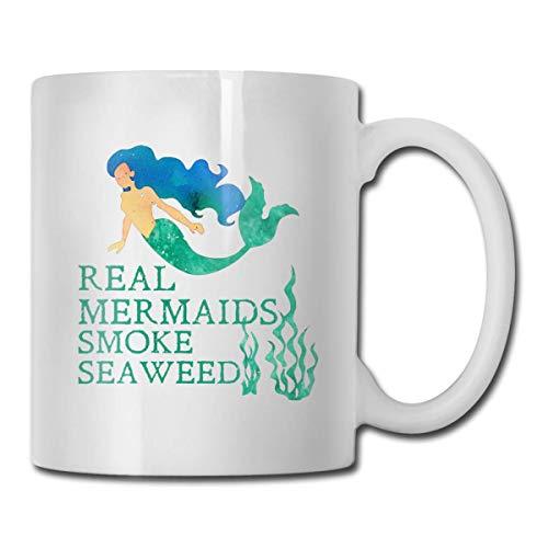 Real Mermaids e taza de algas marinas, taza de café para bebidas calientes, taza de gres, taza de café de cerámica, taza de té de 11 oz, regalo divertido, taza de té y café
