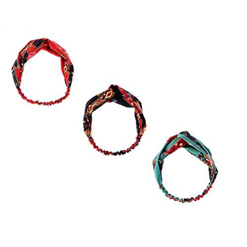 3 stuks twist knopen hoofdband boho geometrisch bedrukte elastische haarband zachte chiffon hoofdband voor vrouwen
