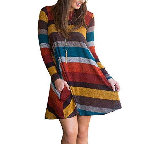 Vestito a Righe Donna Swing Abito in Maglia Manica Lunga Elegante Camicetta T Shirt Scollo Rotondo Casuale Moda Allentato Vestiti Pullover Lungo Autunno Inverno Maglietta Blusa Felpa Tunica Top