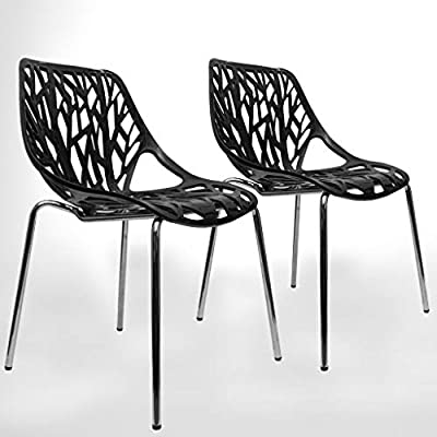 UrbanMod Modern Dining Chair   Stackable Birch Sapling Accent Armless Side Chairs