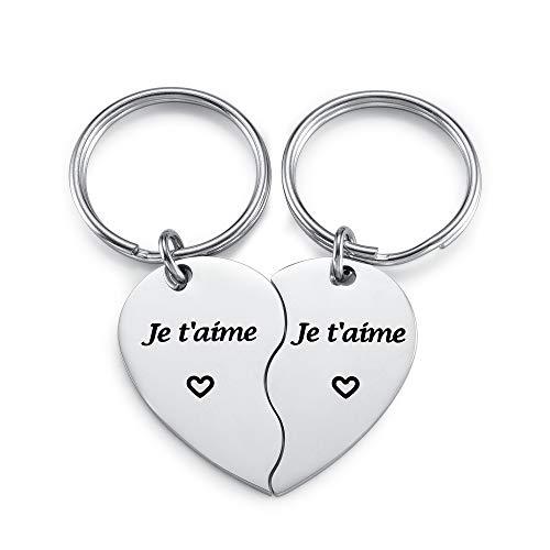 Jovivi 2PCS Porte-clés Coeur Couple Puzzle Séparable avec Gravé Je t'aime en Acier Inoxydable pour Amis Amoureux Cadeau de la Saint-Valentin