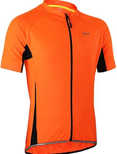 Maglia da ciclismo a maniche corte da uomo, traspirante, con chiusura lampo, ad asciugatura rapida, per ciclismo, MTB, fitness, jersey (EU M (giorno L), arancione)