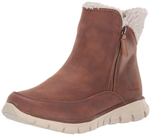 Skechers Women's Synergy Ankle Boots, Brown (Chestnut Micro Leather/Natural Faux Sherpa Csnt), 7 (40 EU)