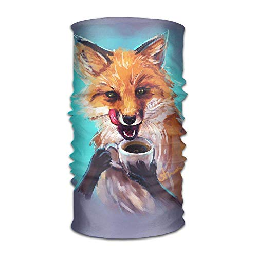 Fox Drink Coffee Painting Outdoor Scarf Cycling Coverchief Headbands Seamless Magic Kerchief
