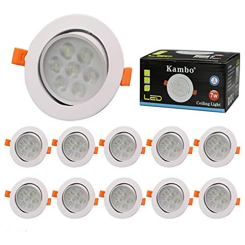 Focos Empotrables LED Kambo Focos Led Empotrables en Techo 7W Frío Blanco 6000K 630LM Redondo Ø85-90mm Ángulo Rotable 30° AC 230V Downlight Led Ojos de Buey de LED Marco Blanco Juego de 10