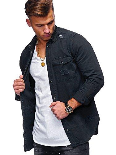 MT Styles Herren Jeanshemd Destroyed Overshirt Hemd G-7851 [Schwarz, XL]