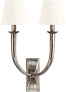 Vienna 2-Light Wall Sconce - Aged Silver Finish with White Faux Silk Shade