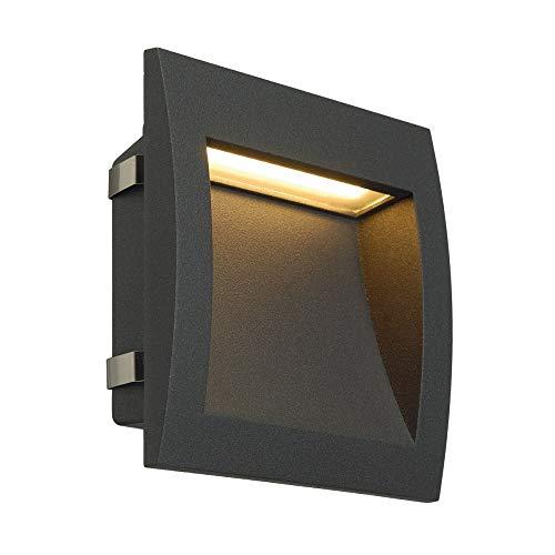 SLV LED Wand-Einbauleuchte DOWNUNDER OUT zur Außen-Beleuchtung von Wänden, Wegen, Eingängen, Treppen, Outdoor Wandlampe, LED Treppen-Beleuchtung, Wandleuchte, Wandstrahler, LED inside, warmweiß, 3,3W
