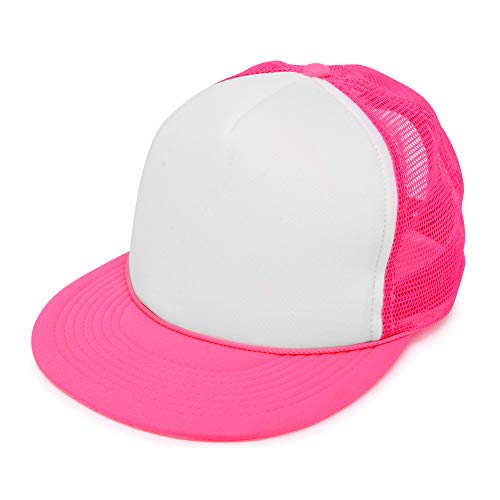Womens Flat Billed Trucker Hat Cap with Mesh Back M L XL Adjustable in Neon-Pink-White