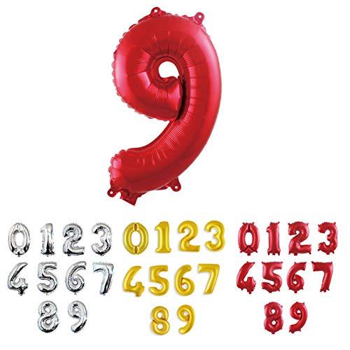 Pallone GIGANTE XL Numero Argento, Numeri 0 1 2 3 4 5 6 7 8 9 10 18 20 30 40 50 60 70 80 90 100 Elio Aria Palloncini per Anniversario, Decorazione Feste di Compleanno Palloncino (9 - Rosso)