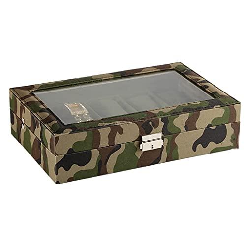 GPWDSN Caja de joyería de Reloj de Camuflaje Verde Militar con 10 Rejillas, Caja de Almacenamiento de Regalo de exhibición de colección de Pulseras, Caja ecológica para Hombres y Mujeres