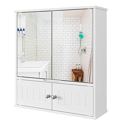 Armario de Baño con Espejo Armario de Pared con 2 Puertas para Baño Cocina Medicina de Madera Blanco 55x17.5x60 cm
