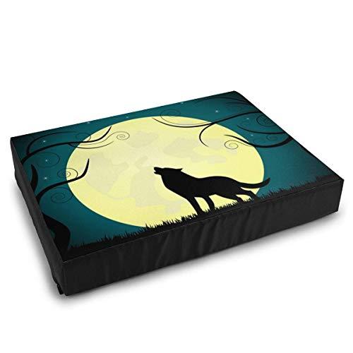 YAGEAD Haustierbetten Wolf bellt auf dem Mond Hundebett für mittelgroße kleine Hunde, die waschbares wasserdichtes Kissenbett beruhigen