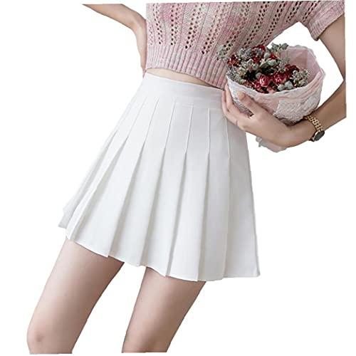 Vrouwen Rokken plooirok hoge taille Tennis korte rokken Dames A Line Vast Kleur rok voor de zomer Wit L