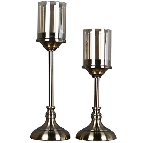 Decorative Candle Holders Set Simple Crystal Glass Dining Table European Style Candle Holder Decoration Candle Holder Decoration Candlestick for Wedding, Dinning, Party ( Color : Copper , Size : Set )