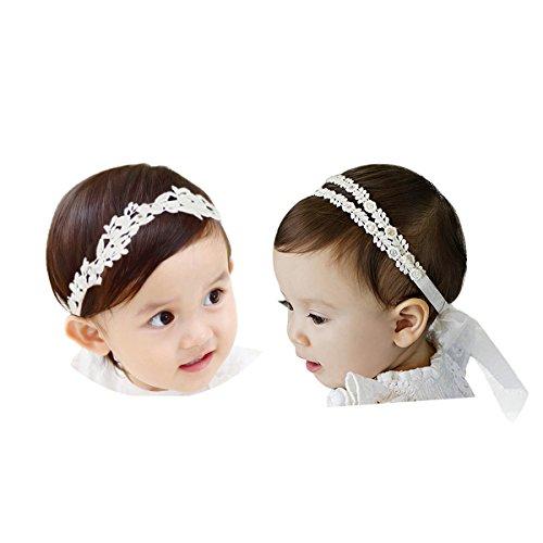COUXILY 2 Stk Stirnbänder Baby Mädchen Lace Chiffon Kunstleder Gummiband Haarband (2 - C02)