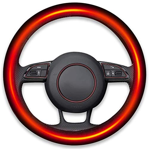Zento Deals Classic Steering Wheel Black Protector Cover with Heater – Keep Comfortable and Warm While Driving