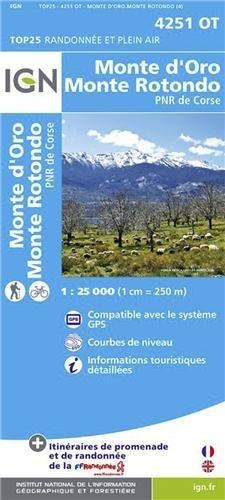 Monte d'Oro / Monte Rotondo / PNR de Corse gps : IGN.4251OT (Ign Map) by Institut Geographique National (2013-04-25)