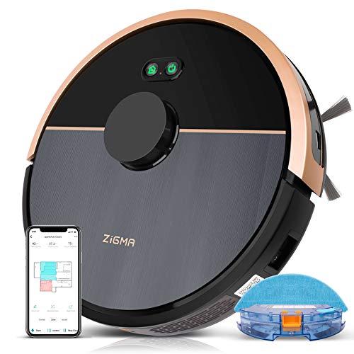 Saugroboter, Zigma Spark981 mit 4000PA Powerleistung, 150Min, Staubsauger Roboter mit Wischfunktion, Alexa&APP&Siri Steuerung, 2.4G WLAN Saug- und Wischroboter für Tierhaare, Böden, für mehrere Etagen