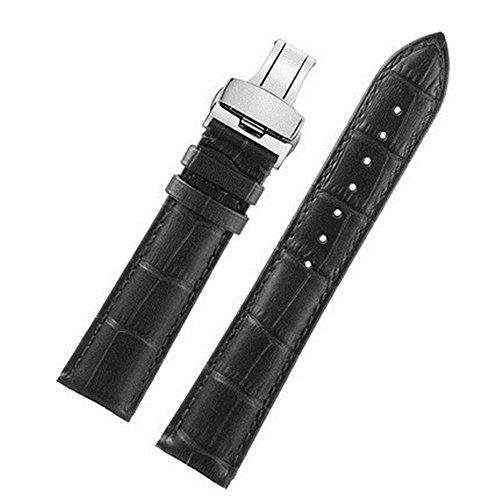 FOUUA Cinturini per orologi 18mm 19mm 20mm 21mm 22mm 24mm Cinturini per orologi in vera pelle Cinturino in alligatore con goffratura sostitutiva in rilievo Cinturini con fibbia deployante Argento Oro