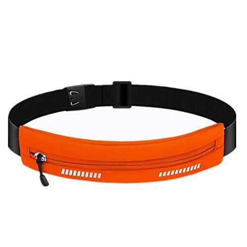 BSTQC Sport midjeväska, löpbälte, löpning midjeväska utomhussport gymväska vattentät ultratunn osynligt bälte orange
