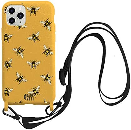 Lanyard Phone case for iPhone 11models - Ecofriendly and Biodegradable -Compostable Phone Case (Yellow Bee, iPhone 11Pro)