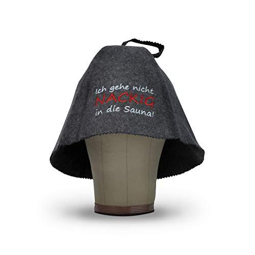 LoFelt® Saunahut - inkl. Sauna-Ratgeber - Ich geh nicht nackig in die Sauna! - 100% Baumwolle - Filz Saunamütze Saunakappe