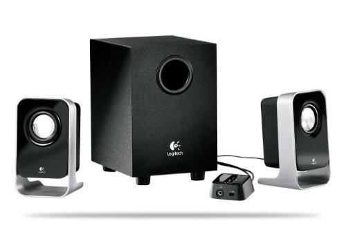 Logitech LS21 - Sistema de Altavoces Compacto 2.1 de 14 vatios, Color Negro/Plata