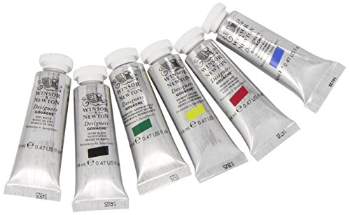 Winsor & Newton Designers' Gouache Primary Color 6-Tube Paint Set, 14ml