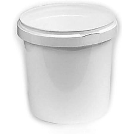 10 Pots de 1 Litre, en Plastique Blanc avec Couvercle Blanc