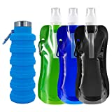 DBAILY Bottiglia Acqua Pieghevole Morbida Duratura Borraccia Pieghevole BPA Free Ermetica Bottiglie D'acqua Pieghevoli+3pcs Sacca D'acqua Pieghevole per Viaggi Campeggio Trekking Escursioni