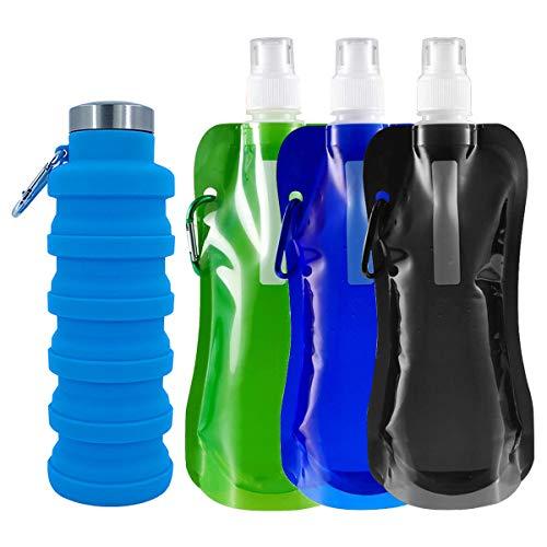 DBAILY La Botella de Agua Plegable Ligera Y Portátil Botellas de Agua de Silicona Plegables Reutilizable con 3pcs Bolsa de Agua Plegable para Senderismo Ciclismo Camping Viajes Escuela(500ml 700ml)