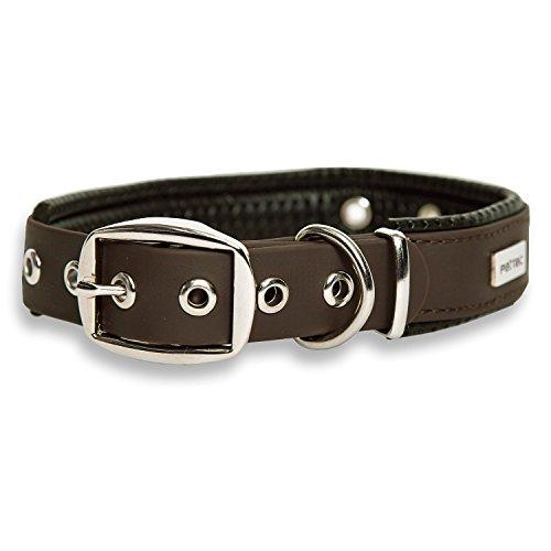 PetTec Collar de Perro Cómodo y Duradero, Fabricado con Trioflex lo Que lo Hace Fuerte; para Perros Grandes o Pequeños, Ajustable y con Relleno Impermeable (Marrón)