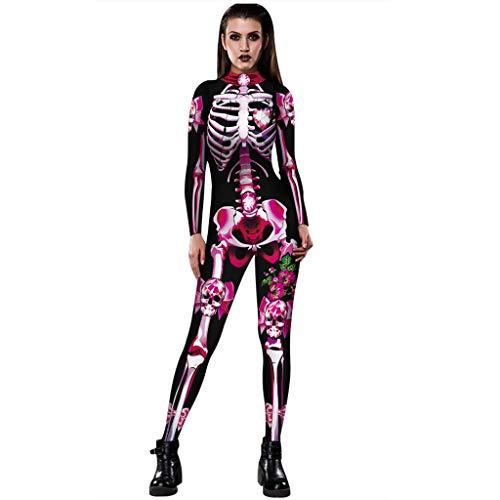 Auiyut Skelett Overall Damen Halloween Kostüm Unheimlich Rose Skeleton Movement Breathable Bodycon Party Cosplay Bodysuit Jumpsuit Karneval Fasching