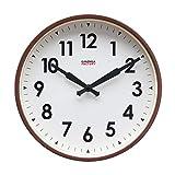 Cloudnola Factory Reloj de Pared Inspirado por los Antiguos Relojes de Fabricas – Metal - Café y Blanco - 30 cm – Silencioso – Movimiento de Quartz -Pilas - con Numeros