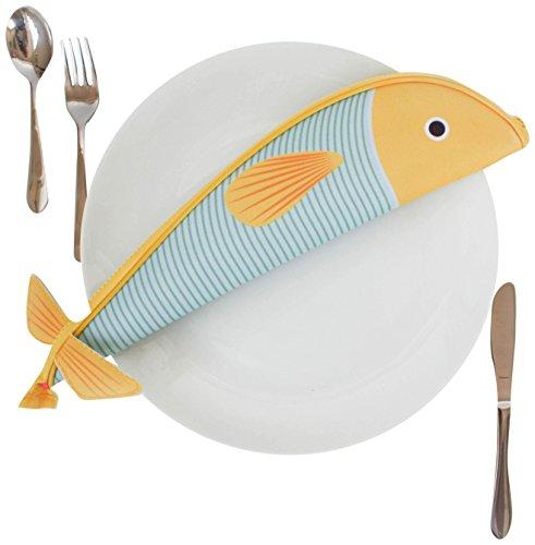 Gift Republic Fisch Schreibmäppchen, Polyester, Multi, 1.5 x 35.5 x 8 cm