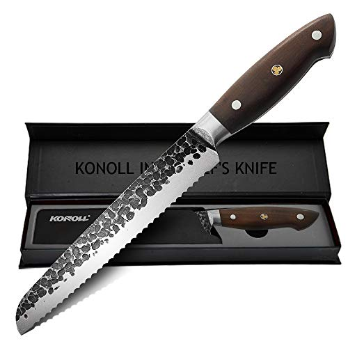 KONOLL Bread Knife,8-Inch Pro serrated Bagle knife Cutter , Forged Hammered Germany High Carbon Steel Cake Slicing