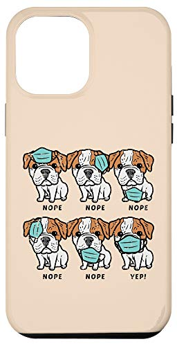 iPhone 12 Pro Max English Bulldog Mask Social Distancing Quarantine Dog Gift Case