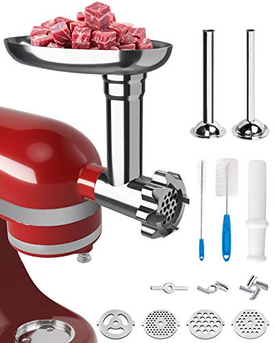 X Home Durable Silver Metal Meat Grinder Attachment for KitchenAid Stand Mixer, Include 2 Sausage Stuffer Tubes, 4 Food Grinder Blades