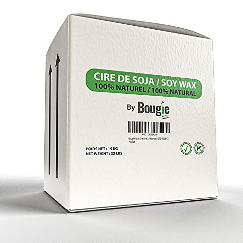 Bougie-Moi Cera di soia PREMIUM-Naturale vegetale -Formato ECONOMICO 15 kg -Artisanat -DIY-cosmetica-massaggio-VEGAN senza OGM, Bio degradabile-Cera Europa-Conforme norme1272/2008/CE